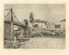 Alfred Sisley etching Bridge at Villeneuve la Garenne