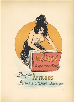 "Auguste Roedel lithograph poster ""Fallou Bouquins Affiches"