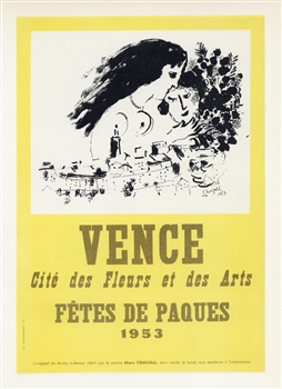 Chagall lithograph poster printed by Mourlot