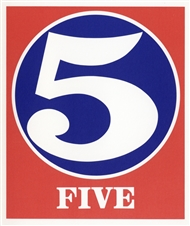 Robert Indiana lithograph Five 5