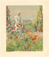 "Childe Hassam chromolithograph ""In the Garden"""