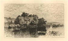 "Albert Fitch Bellows original etching ""Mill Pond At Windsor, Connecticut"""