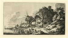 "Franz Edmund Weirotter original etching ""A Cottage"""