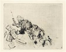 "Marc Chagall ""Pliouchkin looking for his Papers"" etching"