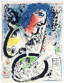 Marc Chagall original lithograph Self Portrait