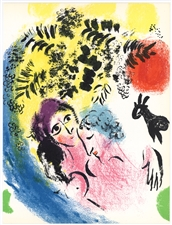Marc Chagall original lithograph Lovers with Red Sun