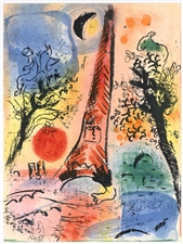 Marc Chagall original lithograph Vision of Paris
