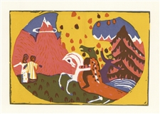 "Wassily Kandinsky ""Berge"" color woodcut"