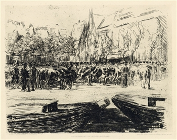 "Max Liebermann original etching ""Rindermarkt in Leiden Holland"""