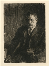 Anders Zorn original etching Self Portrait