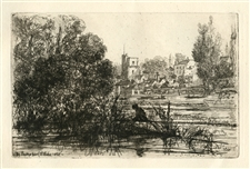 Seymour Haden original etching Twickenham Church