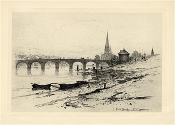 David Young Cameron Perth Bridge original etching
