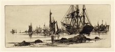Stephen Parrish original etching In Port