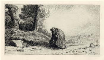 Alphonse Legros original etching The Wayfarer