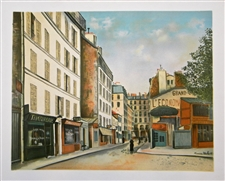 Maurice Utrillo lithograph Montmartre