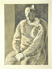 Pavel Tchelitchew lithograph Pierrot Clown