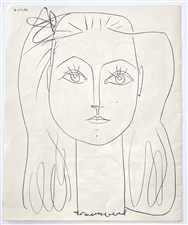 Pablo Picasso Frances with Bow in Hair lithograph