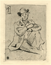 "Paul Cezanne original etching ""Guillaumin au Pendu"""