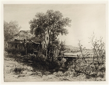 Kruseman Van Elten original etching The Deserted Mill