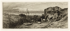 James Smillie original etching At Marblehead Neck