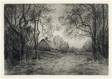 Henry Farrer original etching Winter Evening
