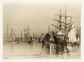 Stephen Parrish original etching Inner Harbor Gloucester