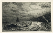 "James Craig Nicoll original etching ""The Smugglers Landing Place"""
