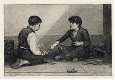 Frederick Dielman original etching Mora Players