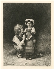 "Leon Bonnat etching ""Brother and Sister"" Paul Rajon"
