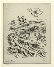 "John Marin original etching ""The Lobster Fisherman"""