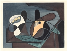 Picasso Venti Pochoirs Corbeille de fruits et guitare