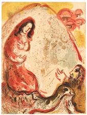 Marc Chagall lithograph Rachel hides her father's household gods