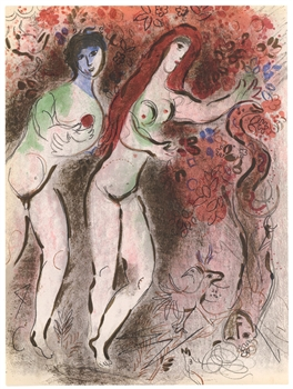 Marc Chagall lithograph Adam and Eve and the Forbidden Fruit