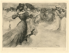 "Tony Minartz original etching ""Le Bal"""