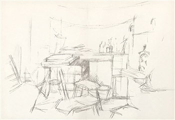 Alberto Giacometti lithograph Studio with Bottles