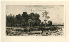Robert Swain Gifford original etching Evening