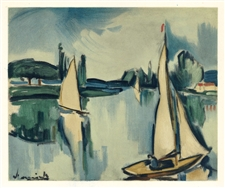 "Maurice de Vlaminck lithograph ""Sailing Boats on the Seine"""
