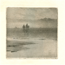 "Frank Short etching and aquatint ""Detail from Sunrise O'er Whitby Scaur"""