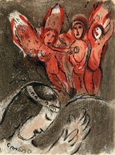 "Marc Chagall ""Sarah and the Angels"" original Bible lithograph"