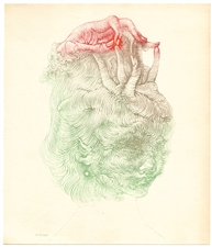 Hans Bellmer original color etching