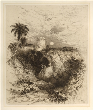 "Thomas Moran original etching ""Tower of Cortez, Mexico"""