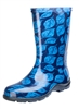 Women's Rain & Garden Boots  - Leaf Print Blue - Made in the USA