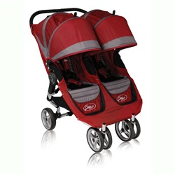 City Mini Double Stroller by Baby Jogger with Quick Easy Fold Technology in Crimson / Grey.