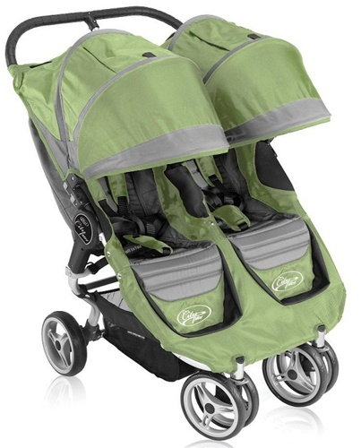 City Mini Double Stroller By Baby Jogger 2011 In Green Grey