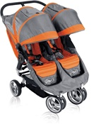 City Mini Double Stroller by Baby Jogger with Quick Easy Fold Technology in Orange/Grey.