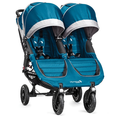 Baby Jogger City Mini Gt Double Stroller 2014 In Teal Gray Ships Now