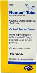 Nemex Tabs [Pyrantel Pamoate] For Small Dogs, 100 Tablets