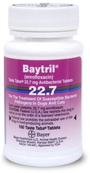 Baytril 22.7mg Taste Tabs, 100 Tablets