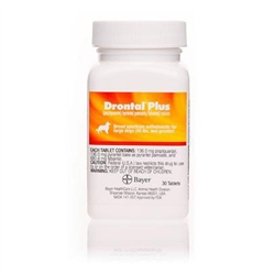Drontal Plus 136mg For Large Dogs 45 lbs & Greater, 30 Tablets