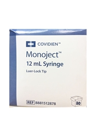 Monoject Syringe 12cc, Without Needle, Luer Lock, 80/Box